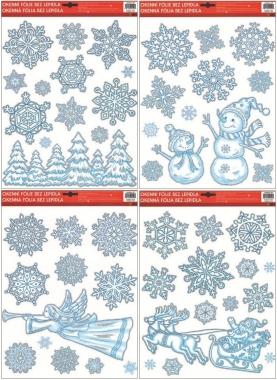 Okenní fólie Ledové vločky se stříbrnými glitry set