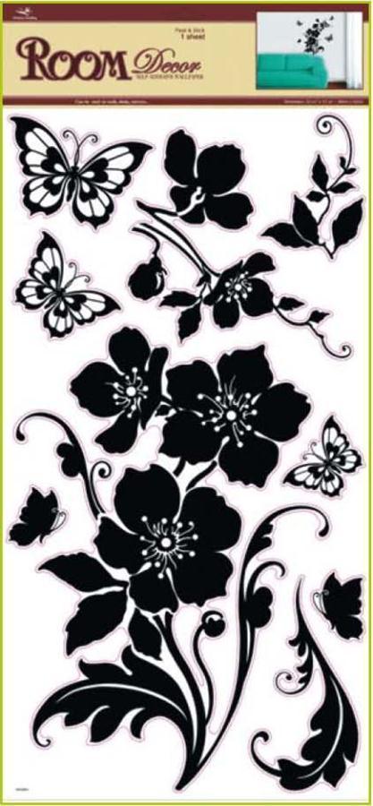 Samolepka Room Decor černá květina s motýli 69x30cm