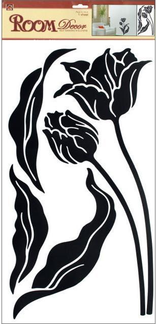 Samolepka Room Decor tulipány černé 69x32 cm