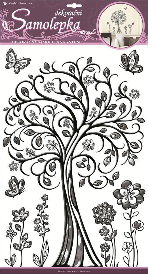 Samolepka plastický strom 61x33cm