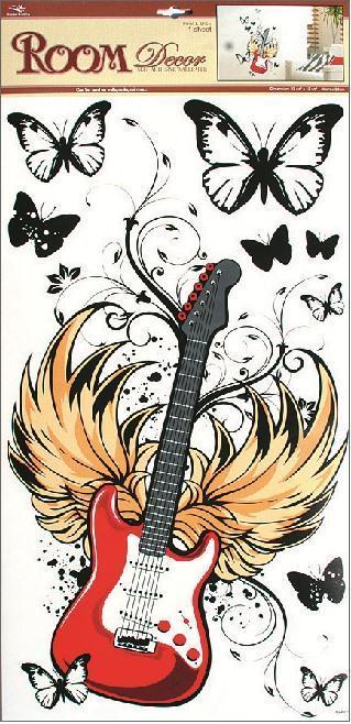 Samolepka Room Decor červená kytara, 69x32cm POSLEDNÍ KUS