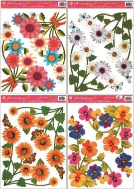 Okenní fólie rohová květinová 4 motivy 37x26cm set
