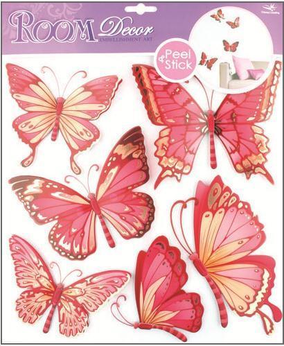 Samolepka Room Decor Motýli s pohyblivými křídly růžoví, 30x30cm