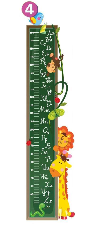Samolepící dětský metr Zvířátka na tabuli