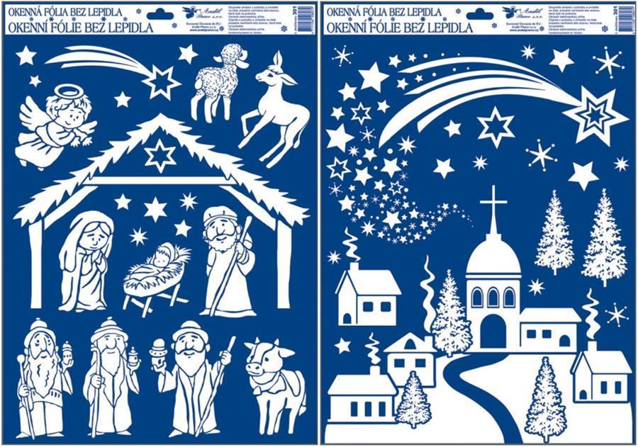 Okenní fólie betlém a vesnice z duhových glitrů 50x35cm set