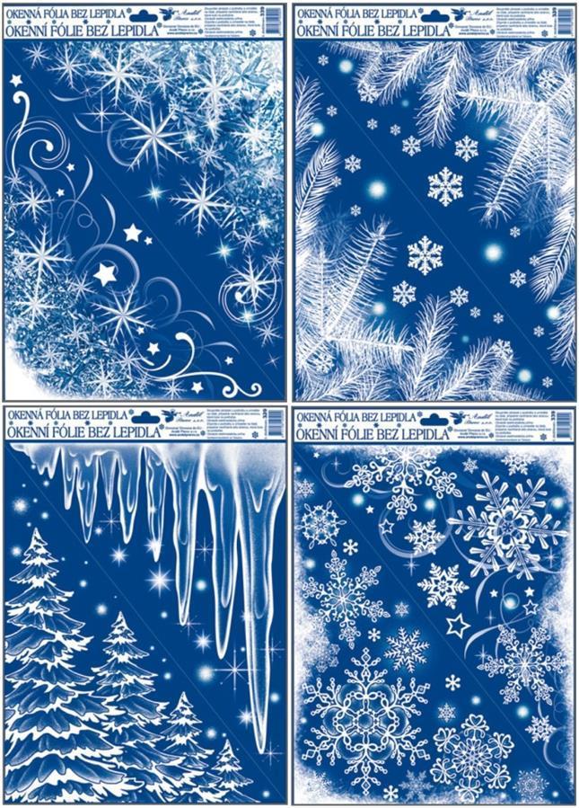 Okenní fólie rohová zamrzlá s duhovými glitry 42x30cm set