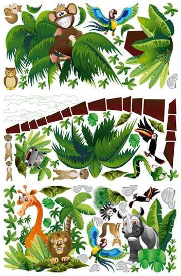 Samolepky na zeď STROM s exotickými zvířátky 130x195 cm