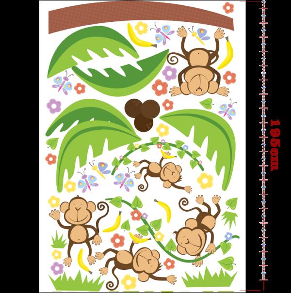 Samolepky na zeď PALMA s opicemi 130x195 cm