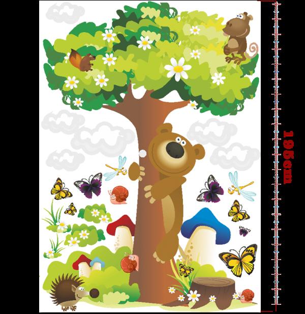 Samolepky na zeď STROM s medvědem a zvířátky 130x195 cm