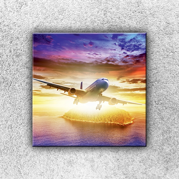 Jednodílný obraz Letadlo se sluncem 30 x 30 cm