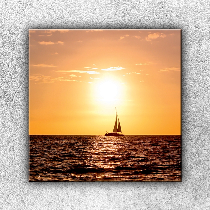 Jednodílný obraz Západ slunce s plachetnicí 70 x 70 cm