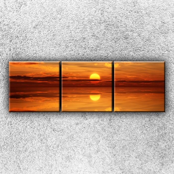 Třídílný obraz Zlaté slunce 75 x 25 cm