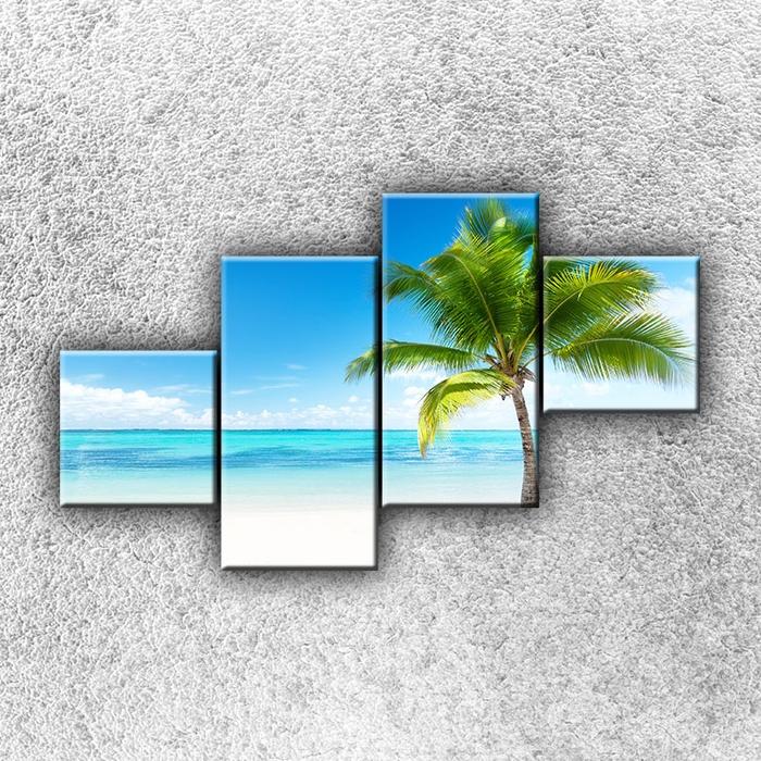 Čtyřdílný obraz Osamocená palma 100 x 60 cm