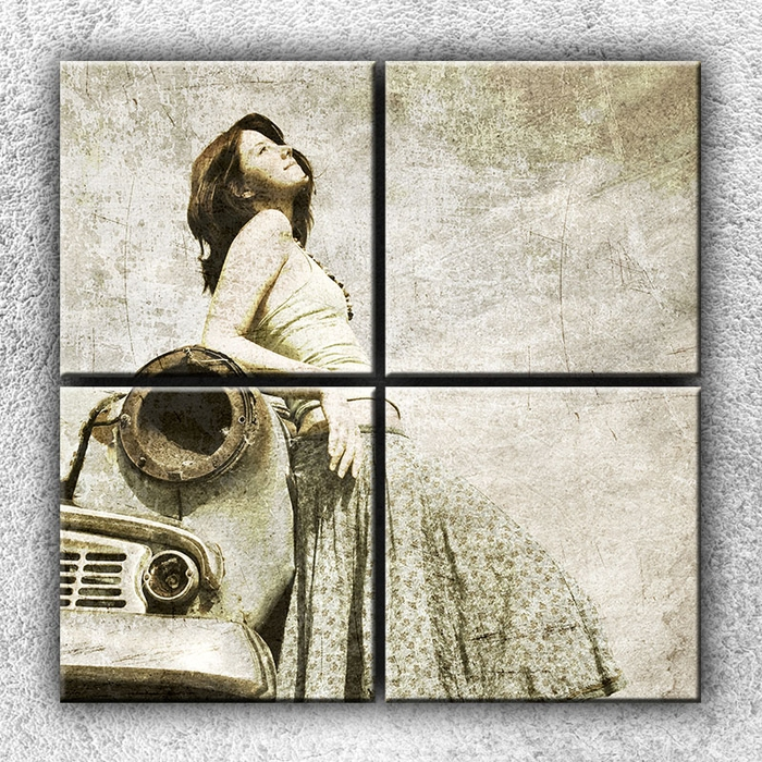 Čtyřdílný obraz Žena na starém autě 100 x 100 cm