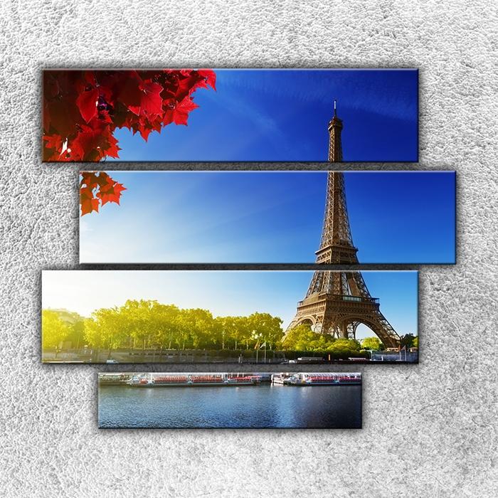 Čtyřdílný obraz Eifelovka z dálky 110 x 90 cm