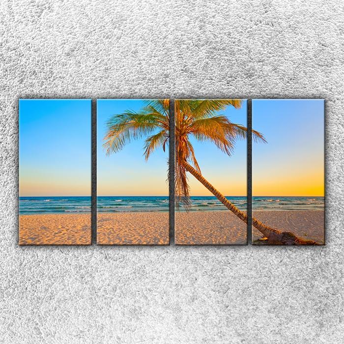 Čtyřdílný obraz Písečná pláž s palmou 160 x 80 cm