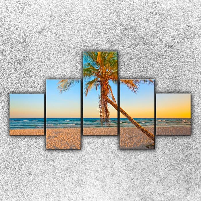 Pětidílný obraz Písečná pláž s palmou 125 x 70 cm