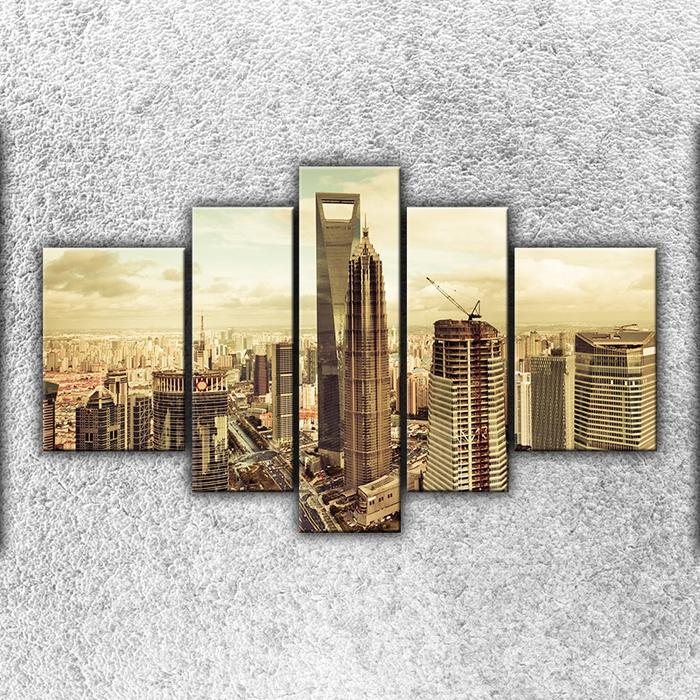 Pětidílný obraz Sépiová metropole 125 x 90 cm