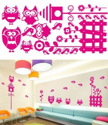 Samolepky na zeď KIDS color - sovy, 94x50 cm