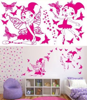Samolepky na zeď KIDS color - víly s motýlky, 94x50 cm