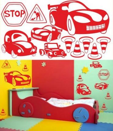 Samolepky na zeď KIDS color - auta, 94x50 cm