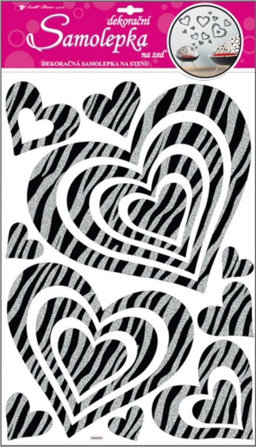 Samolepka Room Decor srdce se stříbrnými glitrovými pruhy 60x32cm