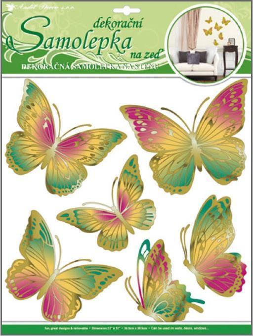 Samolepka Room Decor motýli zelenooranžoví s pohyblivými zlatými křídly 30x30cm