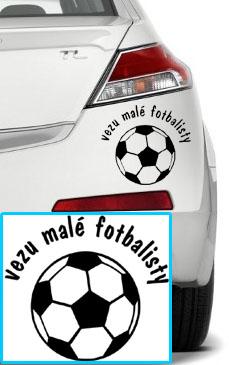 Samolepka na auto - Vezu malé fotbalisty, 15x15cm