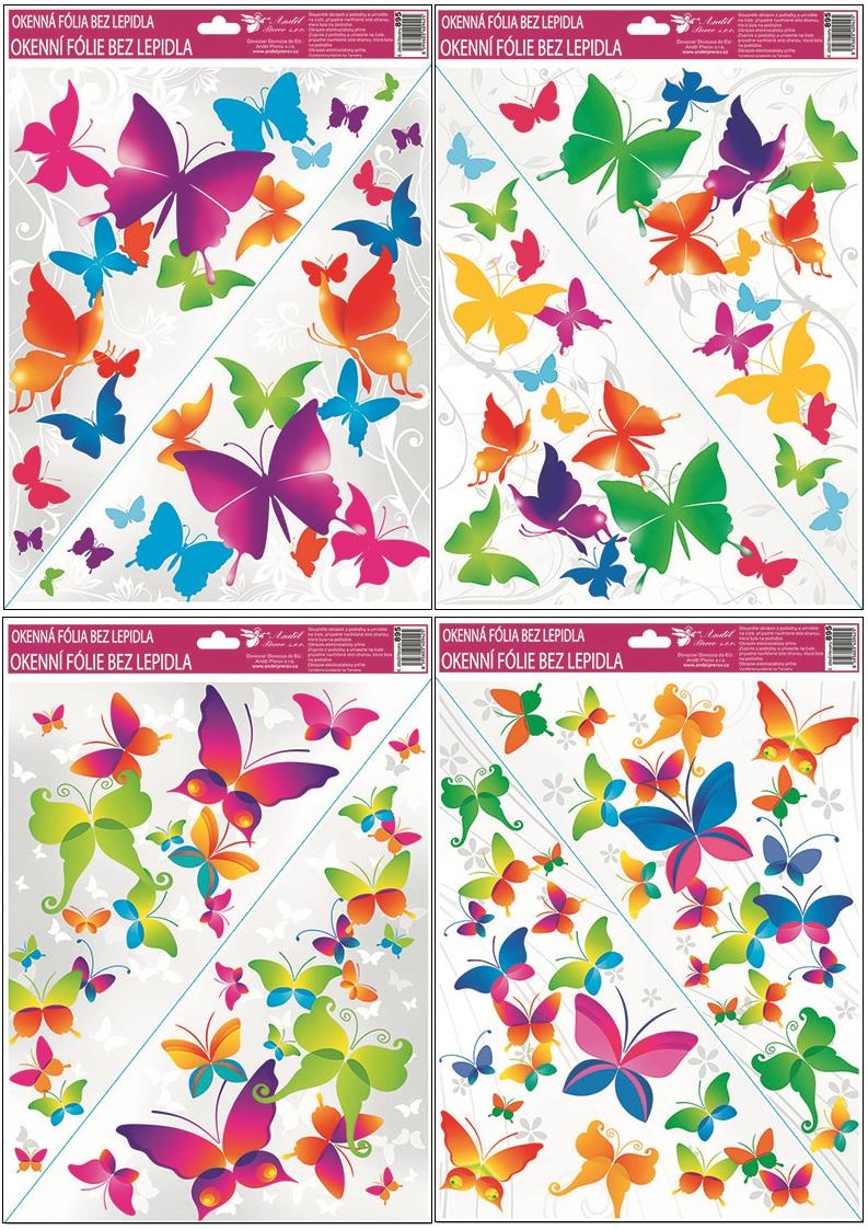 Okenní fólie rohová barevní motýli 42x30cm set