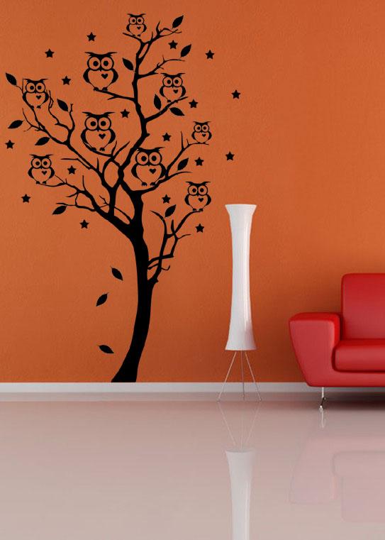 Samolepka na zeď Strom se sovami, 195 x 130 cm