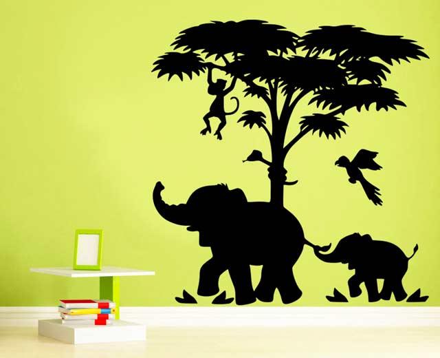 Samolepka na zeď Sloni v džungli