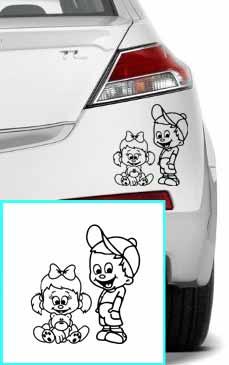 Samolepka na auto Holčička a chlapeček