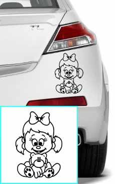 Samolepka na auto holčička s medvídkem
