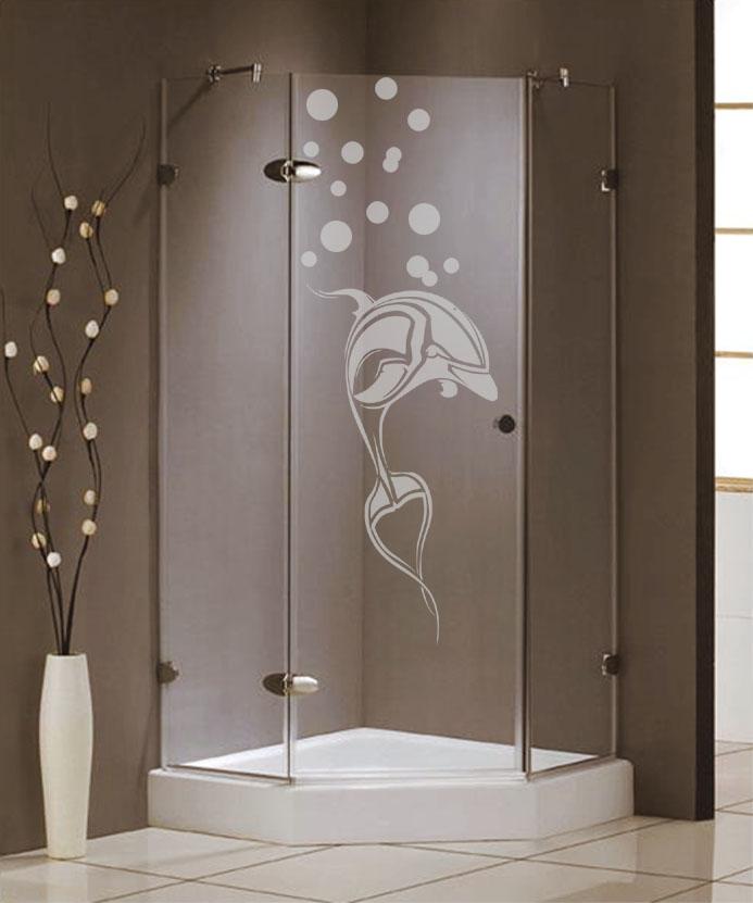 Samolepka na sprchový kout - Delfín s bublinami