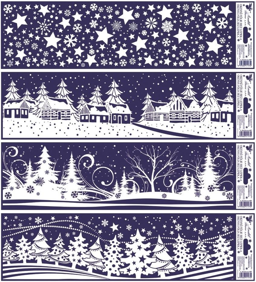 Okenní fólie vánoční krajinky pruh 45x12cm set