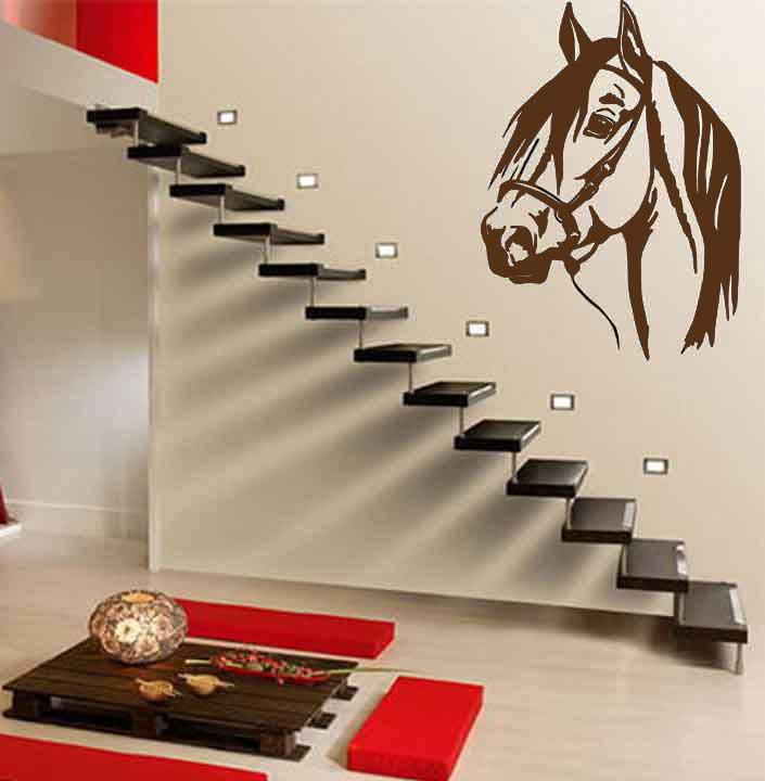 Samolepka na zeď Hlava koně, 80 x 60 cm, 080 - hnědá