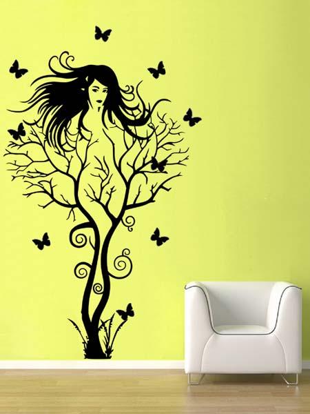 Samolepka na zeď Žena jako strom s motýlky