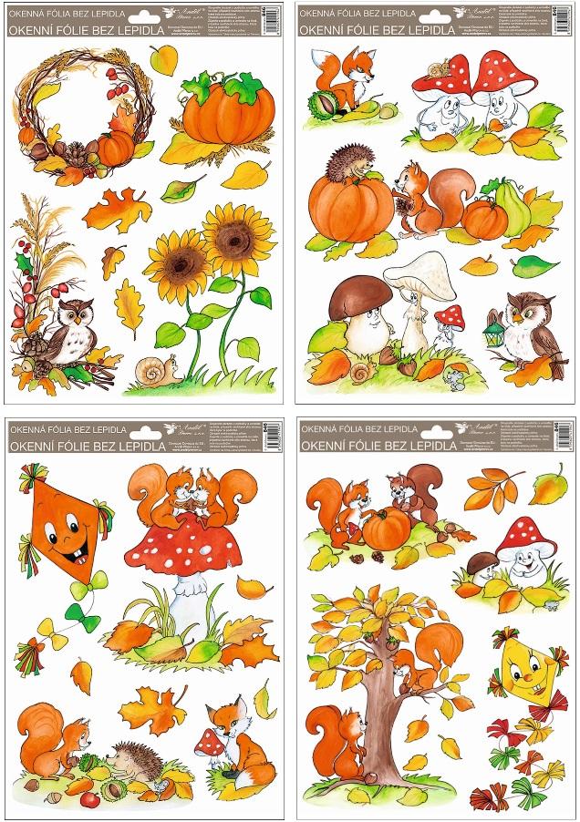 Okenní fólie malovaný podzim sovy,veverky,lišky 37x26 cm set