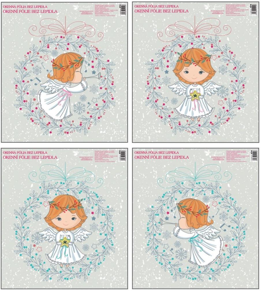 Fólie okenní andílci ve věnečku 33,5x 30 cm