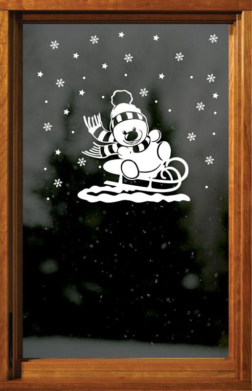 Sněhulák na saních + vločky, hvězdy