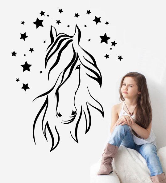 Samolepka na zeď Hlava koně 5 s hvězdičkami