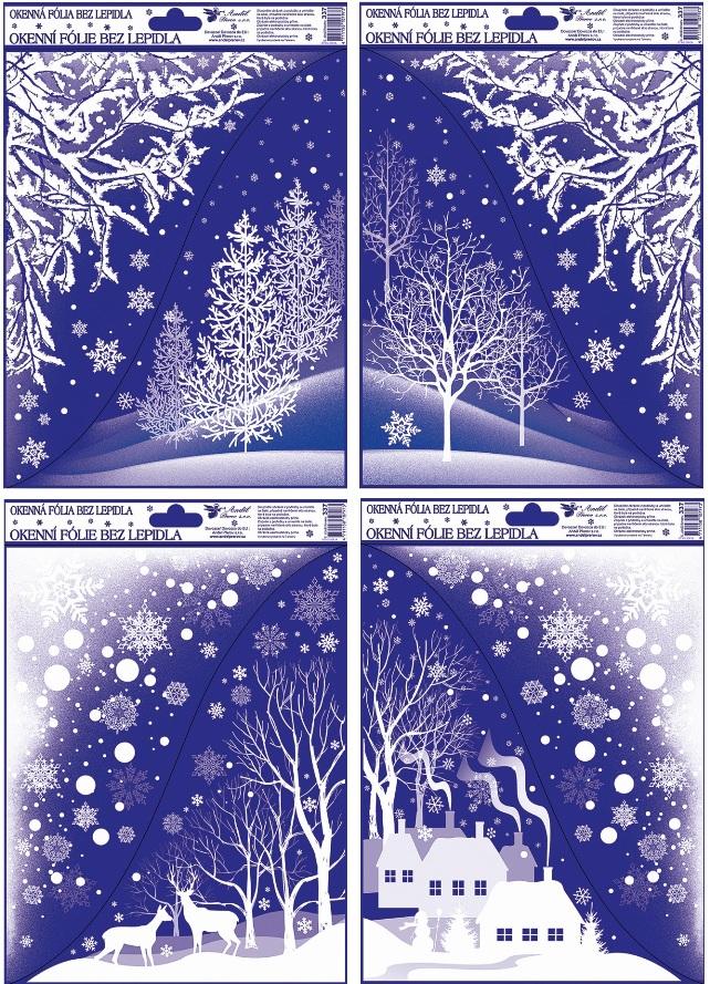 Okenní fólie rohová s glitrem zimní krajina 42x30cm set