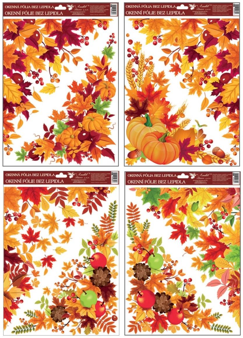 Okenní fólie rohová 38x30 cm, podzimní listí SET
