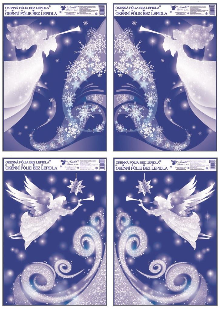 Okenní fólie rohová s glitrem anděl set