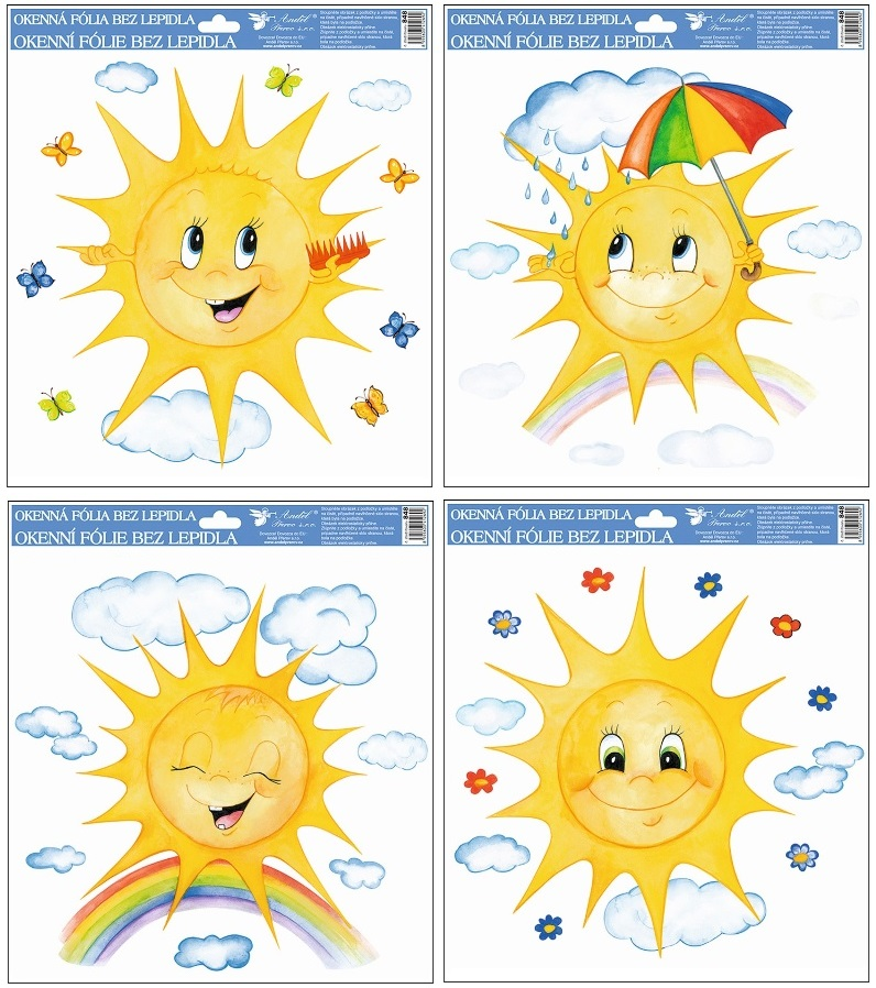 Okenní fólie Malovaná sluníčka SET