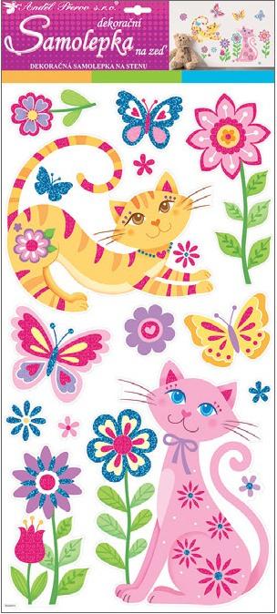 Samolepky na zeď kočky s glitry 60x32 cm