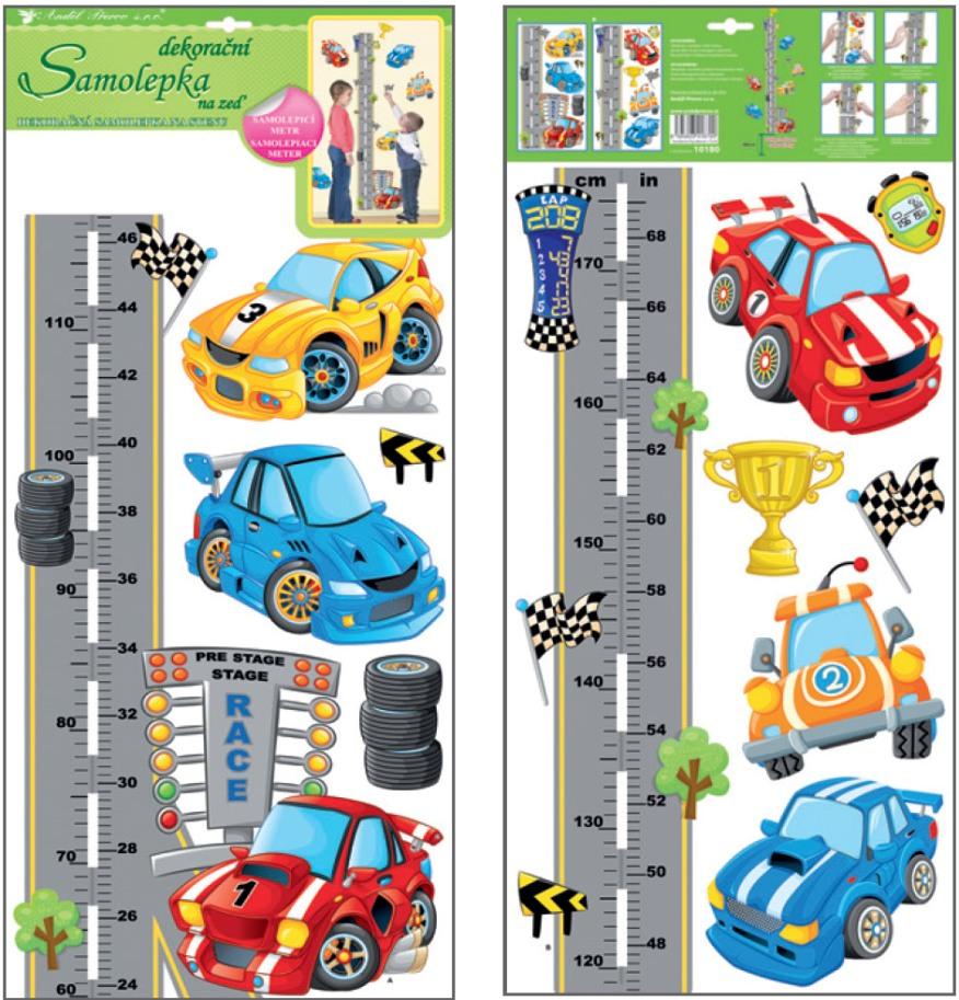 Samolepící dětský metr silnice a auta 120 x 32 cm