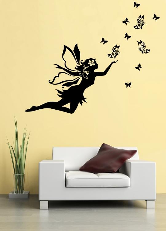 Samolepka na zeď Víla s motýli