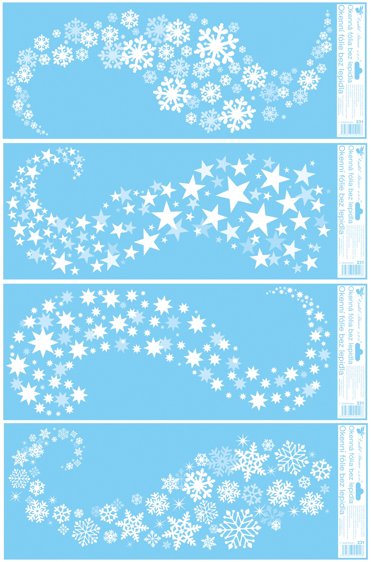 Okenní fólie pruhy 60 x 22,5 cm, Vločky, hvězdy set
