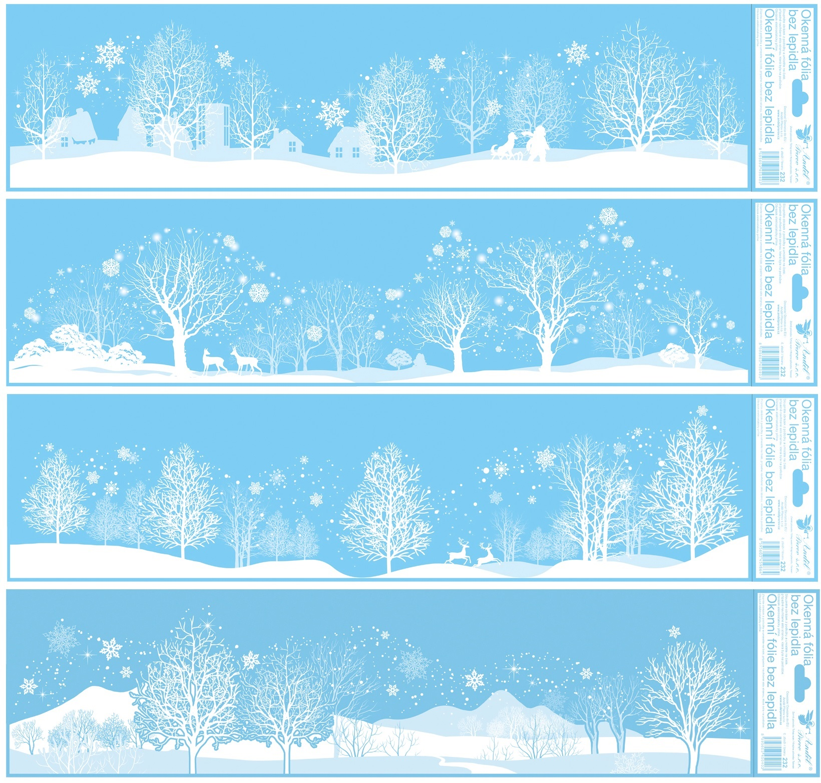 Okenní fólie zimní pruhy 64 x 15 cm, set